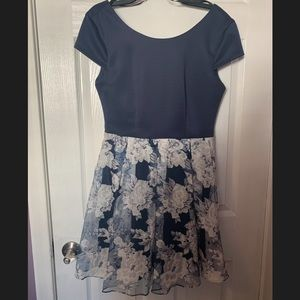 Navy Floral Homecoming Dress